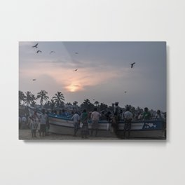 fisherman at sunrise Metal Print