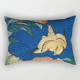 Katsushika Hokusai Peonies and Canary 1834 Rectangular Pillow