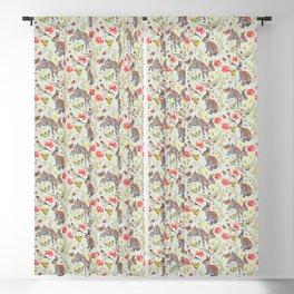 Bunny Meadow Pattern - Green Blackout Curtain