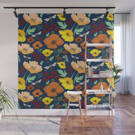 Flower Petals and Bees Navy Wall Mural
