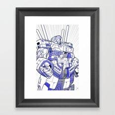 Blue Mecha Framed Art Print