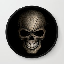 Decorated Dark Day of the Dead Sugar Skull Wall Clock