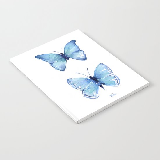 Two Blue Butterflies Watercolor Animals Insects Notebook