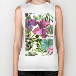 Seamless tropical flower, plant and leaf pattern background, Biker Tank
