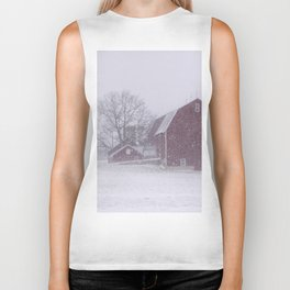 Red Barn in a Snowstorm Biker Tank