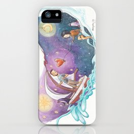 Boy in Sailboat Leaving Girl with Heart Balloon and Penguin iPhone Case