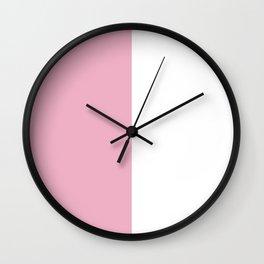 Half Pink White Wall Clock