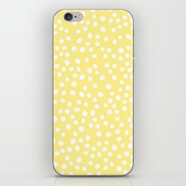Pastel yellow and white doodle dots iPhone Skin