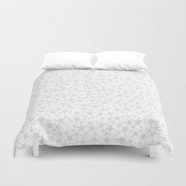 Block Print Silver-Gray and White Stars Pattern Duvet Cover