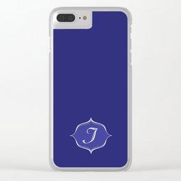 I Monogram Royal Blue Clear iPhone Case