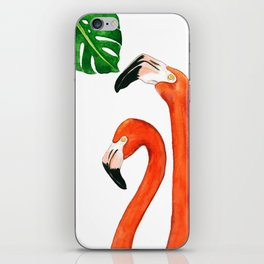 Two flamingos and a monstera leaf iPhone Skin