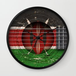 Old Vintage Acoustic Guitar with Kenyan Flag Wall Clock
