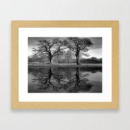 Black White Coast Lake Landscape Lake House Art Coastal Art A291 Framed Art Print