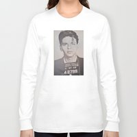 frank sinatra Long Sleeve T-shirts featuring Frank Sinatra Mugshot (Front)  by All Surfaces Design