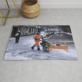 Ploughing the snow Rug