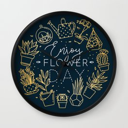 Monogram pots with plants enjoy flower day gold Wall Clock