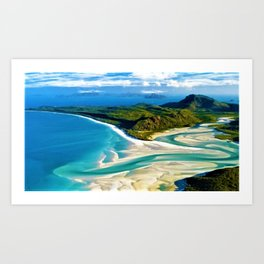 Crystal white sands and turquoise blue waters of Whitehaven Beach – Australia Art Print