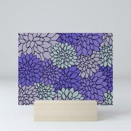 Periwinkle Gray Dahlias Mini Art Print