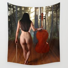0182-JC Nude Cellist with Her Cello and Bow Naked Young Woman Musician Art Sexy Erotic Sweet Sensual Wall Tapestry