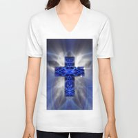 cross V-neck T-shirts featuring Cross by Mr D's Abstract Adventures