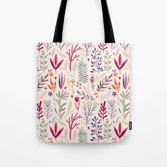 Light  Botanical Pattern Tote Bag