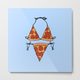 Pizza Bikini Metal Print