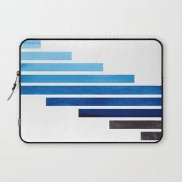 Prussian Blue Midcentury Modern Minimalist Staggered Stripes Rectangle Geometric Aztec Pattern Water Laptop Sleeve
