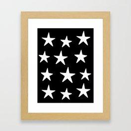 Star Pattern White On Black Framed Art Print