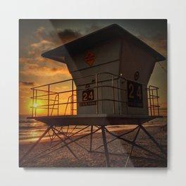 Lifeguard Station at Sunset Metal Print