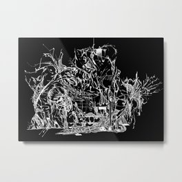Botanic Curves (Black) Metal Print