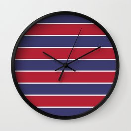 Large Red White and Blue USA Memorial Day Holiday Horizontal Cabana Stripes Wall Clock