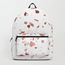 Metallic Rose Gold Terrazzo Backpack