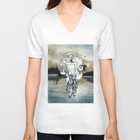 ghost V-neck T-shirts featuring Ghost by Steven Bossler