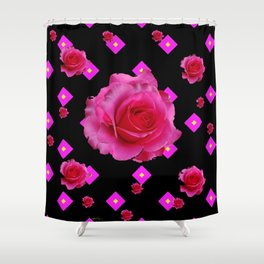 Black Fuchsia Pink Roses & Patterns Shower Curtain