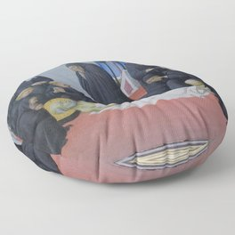 Sano di Pietro - The Death of St Jerome and His Apparition to St Cyril of Jerusalem Floor Pillow