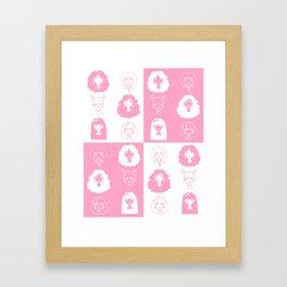 Girls' faces (pink) Framed Art Print
