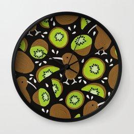 Kiwis & Kiwis – Charcoal Palette Wall Clock