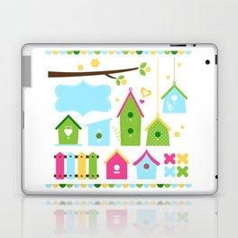 Beautiful colorful spring bird houses Laptop & iPad Skin