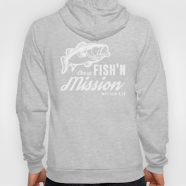 On A Fish'n Mission Fisher Fishing Rod Boat Fishing Bait Design Hoody