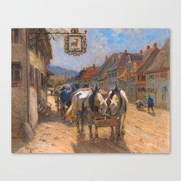 "Eckenfelder, "" In Front of the ""Hirsch"" Inn"" Canvas Print"