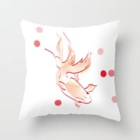 goldfish Throw Pillows featuring goldfish by 1 monde à part