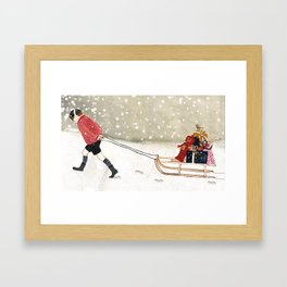 Boy with sledge Framed Art Print