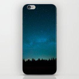 Blue Milky Way Galaxy Pine Tree Silhouette Night Star Sky iPhone Skin