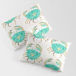 Crab – Turquoise & Gold Pillow Sham