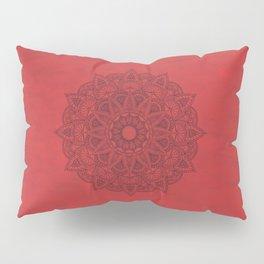 Black Mandala on Red Stains Background Pillow Sham