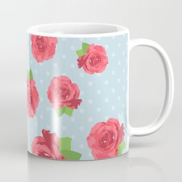 Shabby Chic, Polka Dots, Roses - Red Green Blue Coffee Mug