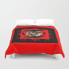 HALLOWEEN BAT INFESTED HAUNTED SKULL RED ART DESIGN Duvet Cover