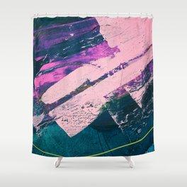 Wonder. - A vibrant minimal abstract piece in jewel tones by Alyssa Hamilton Art Shower Curtain