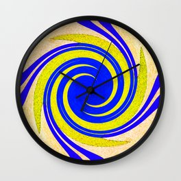 Colorful yellow and blue spiral swirling elliptical constellation star galaxy abstract design Wall Clock