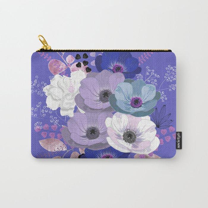 Anemones & Gardenia Blue bouquet Carry-All Pouch